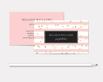 Pink and White Stripes Business Cards, Faux Gold Foil Polka Dots, Esthetician, Salon Owner, Event Planner, Substitute Teacher, Free Shipping