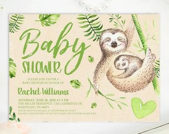 Baby Shower Invitation, Sloth Baby Shower Invite, Cute Baby Shower, Animal Baby Shower, Tropical Baby Shower, Printable No. 1024