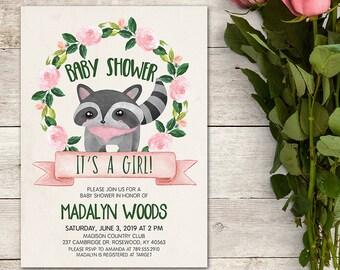 Baby Shower Invitation, Raccoon Invitation, Woodland Baby Shower Invitation, It's a Girl!, Woodland Animals, Floral, Printable No. 818