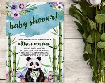 Panda Baby Shower Invitation, Bamboo Baby Shower, Watercolor Panda, Baby Shower Boy, Watercolor Floral Invitation, Printable No. 1034
