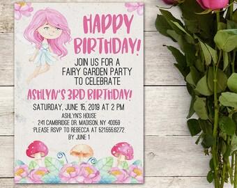 Fairy Invitation, Garden Party Invitation, Girl's Birthday Invitation, Pink Fairy Invitation, Flowers, Mushrooms, Floral, Printable No. 1092