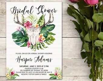 Bridal Shower Invitation, Boho Bridal Shower, Floral Antler Bridal Shower, Boho Antlers, Tropical Boho, Baby Shower Invite, Birthday Party