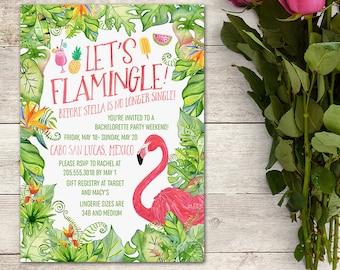 Bachelorette Party Invitation, Bridal Shower Invitation, Flamingo Invitation, Tropical Bachelorette Party, Tropical Invitation, Bride to Be
