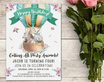 Birthday Party Invitation, Hot Air Balloon Birthday, Boho Animals Birthday, Children's Birthday, Floral, First Birthday, Printable No. 1091
