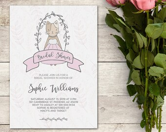 Printable Bridal Shower Invitation, Kitty Cat Bridal Shower,  Whimsical Bridal Shower,Cat Bridal Shower,Kitty Invitation, Printable No. 1020