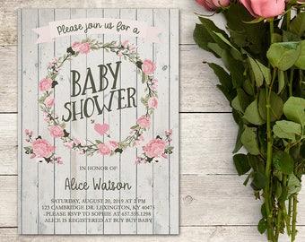 Shabby Chic Baby Shower Invitation, Bridal Shower Invitation, Baby Brunch, Bridal Brunch, Pink Roses, Flowers, Rustic, Printable No. 1029