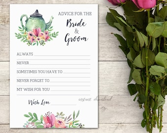 advice for the bride groom card bridal shower tea tea party floral tea party bridal shower game activity teapot printable no 1018