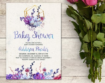Baby Shower Invitation, Watercolor Succulent, Purple, Floral, Plants, Winter Baby Shower, Bridal Shower, Blue, Modern, Printable No. 1087