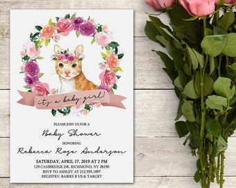 Baby Shower Invitation, Cat Baby Shower Invitation, It's a Baby Girl, Baby Shower Girl, Floral, Watercolor, Wreath, Printable No. 1068