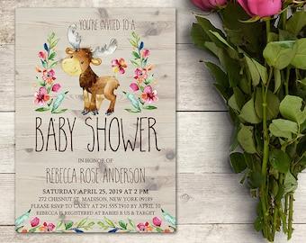 Moose Baby Shower Invitation, Woodland Baby Shower Invitation, Baby Shower Girl, Watercolor, Floral, Rustic Baby Shower, Printable No. 1047