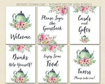 Baby Shower Decor, Bridal Shower Decor, Baby Shower Tea Party, Cards & Gifts, Food, Drink, Guestbook, Favors, Welcome, Printable No. 1018