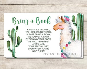 Bring a Book Card, Books for Baby, Baby Shower Card Insert, Baby Shower Activity, Llama Baby Shower, Fiesta Baby Shower, Printable No. 827