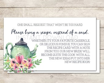 Bring a Recipe Card, Bridal Shower Recipe Card, Bridal Shower Card Insert, Recipe for the Bride to Be, Bridal Shower Tea, Printable No. 1018