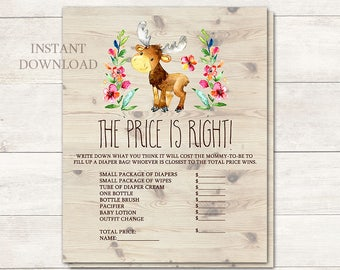Price is Right Baby Shower Game, Baby Shower Game, Woodland Baby Shower, Moose Baby Shower, Baby Shower Girl, Rustic, Printable No. 1047