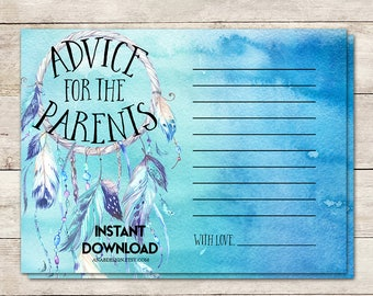 Advice for New Parents, Baby Shower Advice Cards, Boho Baby Shower, Dreamcatcher Baby Shower, Dream catcher, Watercolor, Printable No. 1003