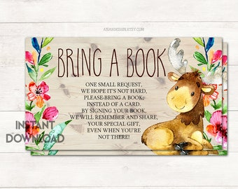 Bring a Book Card Insert, Books for Baby, Baby Shower Girl, Baby Shower Moose, Woodland Baby Shower, Baby Shower Game, Printable No. 1047