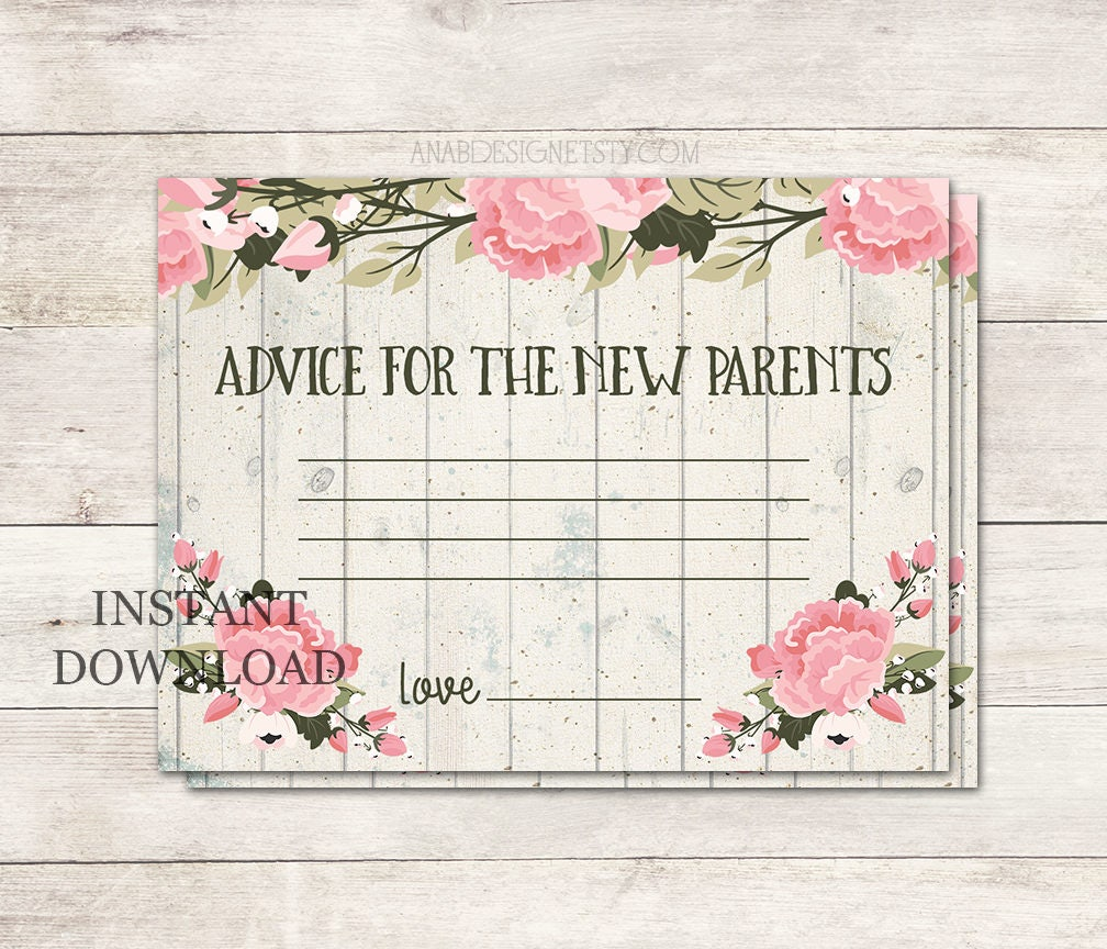 Advice For New Parents Baby Shower Advice Cards Shabby Chic Etsy