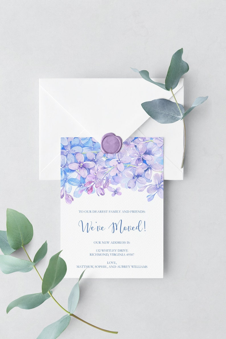 Watercolor Greenery Wreath Custom Moving Announcement Printable Change Of Address Card New Home Sweet Home DIY Digital Download