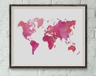 Printable Wall Art, World Map Print, World Map Watercolor, Instant Download, Dorm Decor, Home Decor, Apartment Decor,Classroom Decor