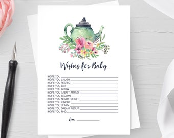 Wishes for Baby, Baby Shower Game, Activity, Baby Shower Tea Party, Green Watercolor Teapot, Baby is Brewing, Garden, Printable No. 1018