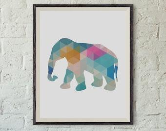 Printable Wall Art, Geometric Elephant Art, 8x10 in Printable, Elephant Prints, Geometric Elephant, Nursery, Dorm Decor