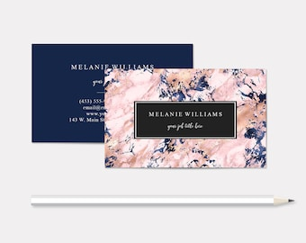 Personalized Business Cards, Navy Marble, Lawyer, Esthetician, Salon, Event Planner, Substitute Teacher, 3.5 x 2 inches, Free Shipping