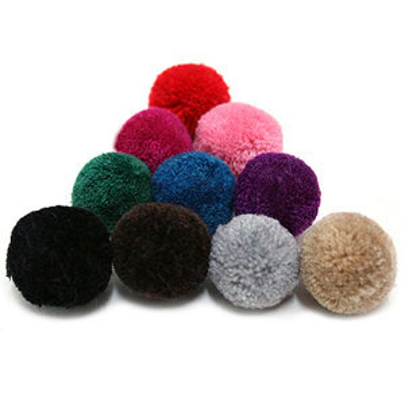 4Pieces  25mm Yarn PomPom   Pick Your Colors  21 Different image 0
