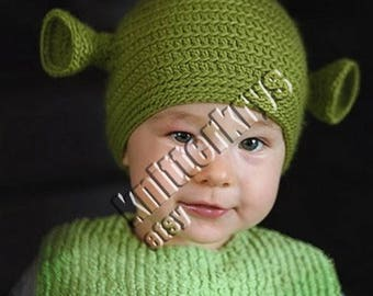 Toddler 12-24 months size. Hand crocheted green ogre shrek beanie made to order.  sc 1 st  Etsy & Shrek beanie | Etsy