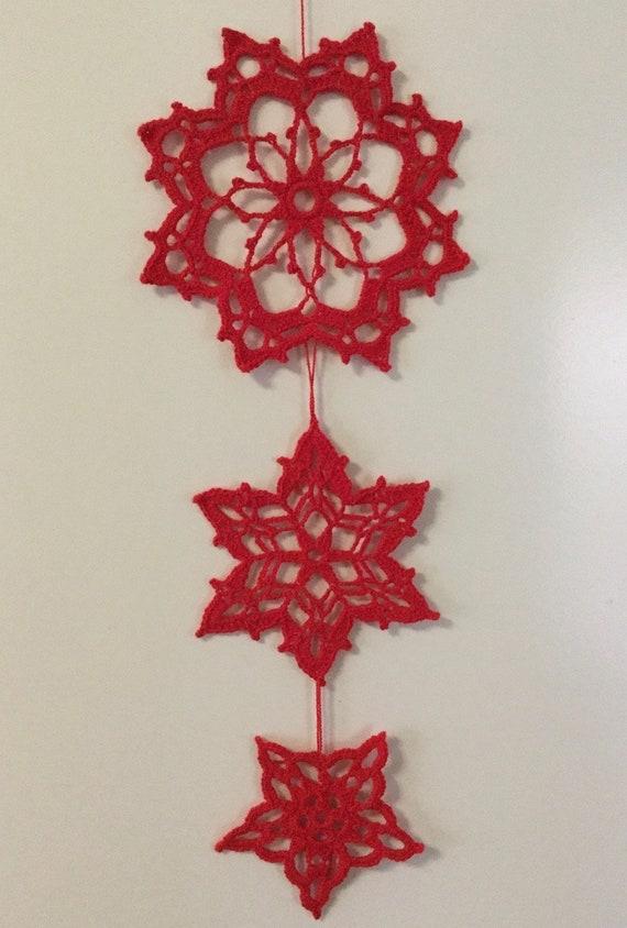 3 Grote Haak Kerst Ornamenten Muur Venster Of Tabel Etsy