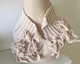 Boho Freestyle Crochet Neckwarmer/headband in beige colour OOAK Original Art.