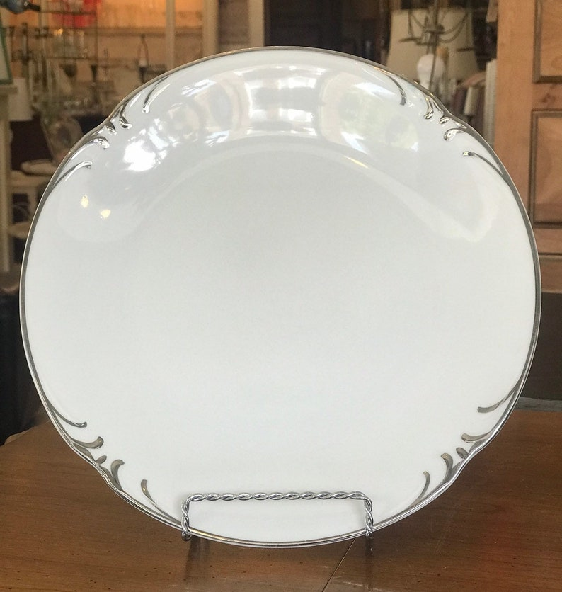 Silver Edged Dinner Plates Embassy by Stylehouse Set of 11