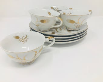 Scallop Gold Filigree Luncheon Set - Set of 6