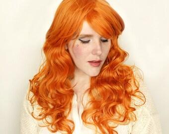 Ginger Orange wig | Long Red wig | Curly Ginger Red Auburn wig | Cosplay wig, Halloween wig & everyday glam | Ginger Angel