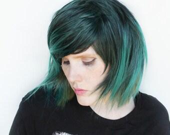 Short Green wig | Black wig, Straight Teal wig | Scene Emo wig, Green Emo wig, Cosplay wig | Emo Hair wig | Fern