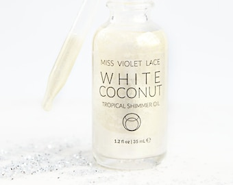 Coconut Shimmer Oil | Light Shimmer Body Oil | Natural + vegan - TRAVEL SIZE