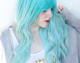 SALE Teal wig | Wavy Long Turquoise wig | Scene wig, Cosplay wig, Mermaid wig | Mermaid Enchantress