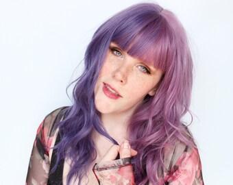 Long purple wig, wavy purple wig, purple scene wig, pastel wig, mermaid wig -- Violet Sky