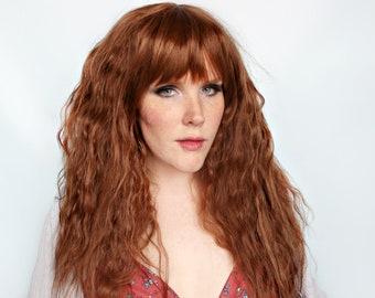 Long brown wig, wavy brown wig, thick wig with bangs -- Brownie Cakes