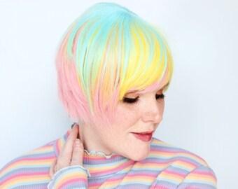 Rainbow wig, short rainbow wig, bob wig with bangs, scene wig, kawaii wig -- Rainbow Sprinkles