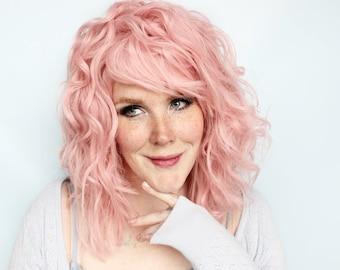 Curly pink wig, pastel wig, wavy pink wig with bangs -- Cloud Petals