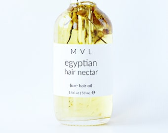 EGYPTIAN HAIR NECTAR vegan hair oil, 100% natural conditioner for dry and damaged hair, lavender, lemon and chamomile