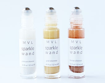 SPARKLE WAND TRIO - Gifts for her, festival beauty, shimmer wand set, body shimmer highlighter set, 100% natural and vegan set for her