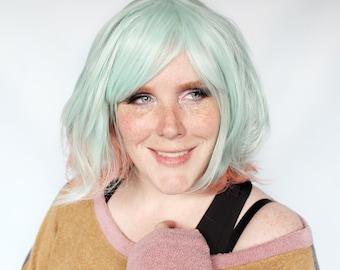 Short green wig, green pink wig, pastel wig, pastel green wig, bob wig, green bob wig -- Retro Remix