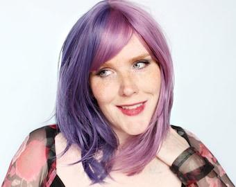 Wavy purple wig, pastel wig with bangs, purple scene wig, short purple wig -- Purple Passionfruit