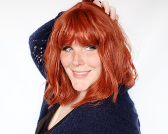 Short red wig, wavy red wig, auburn red wig with bangs, redhead wig, ginger wig -- Pumpkin Muffin