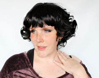 Short black wig, curly black wig with bangs, pinup wig, retro wig -- Clara Darling