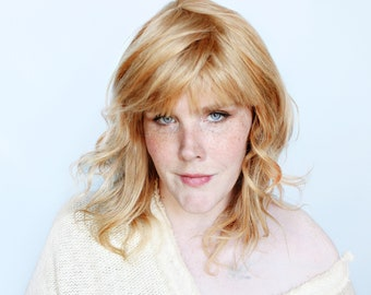 Blonde human hair wig, 100% human hair wig with bangs, blond real hair wig -- Sunflower Skies