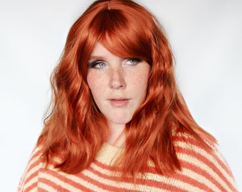 Short red wig, wavy red wig, red wig with bangs, redhead wig, ginger wig -- Pumpkin Pie
