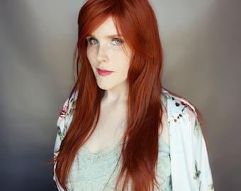 Auburn wig, red wig, straight wavy hair, natural auburn red wig, ginger wig --- Amber Bay