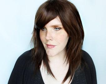 Brown human hair wig, 100% human hair wig with bangs, dark brown brunette real hair wig -- Smoky Topaz